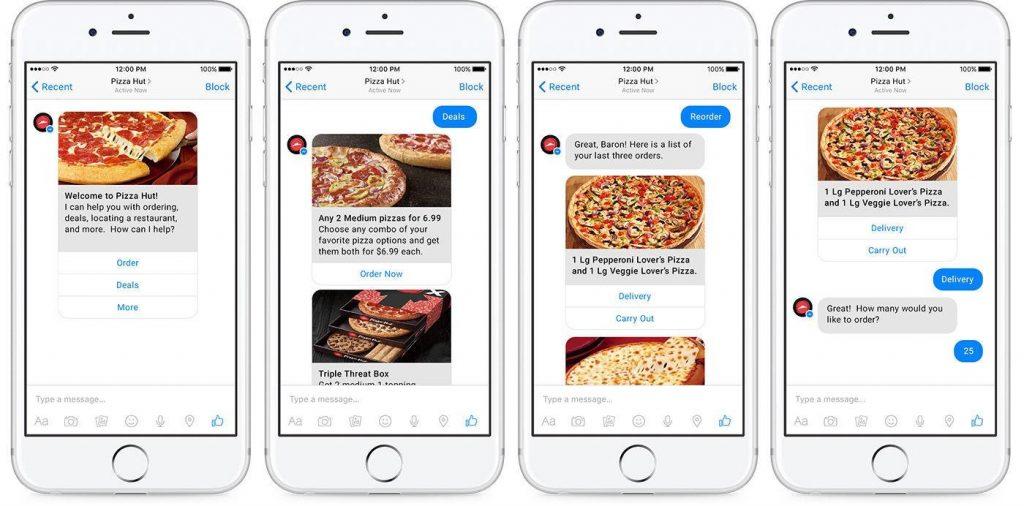 Pizza Hut chatbot permite a conversação ordenação via Facebook Messenger.