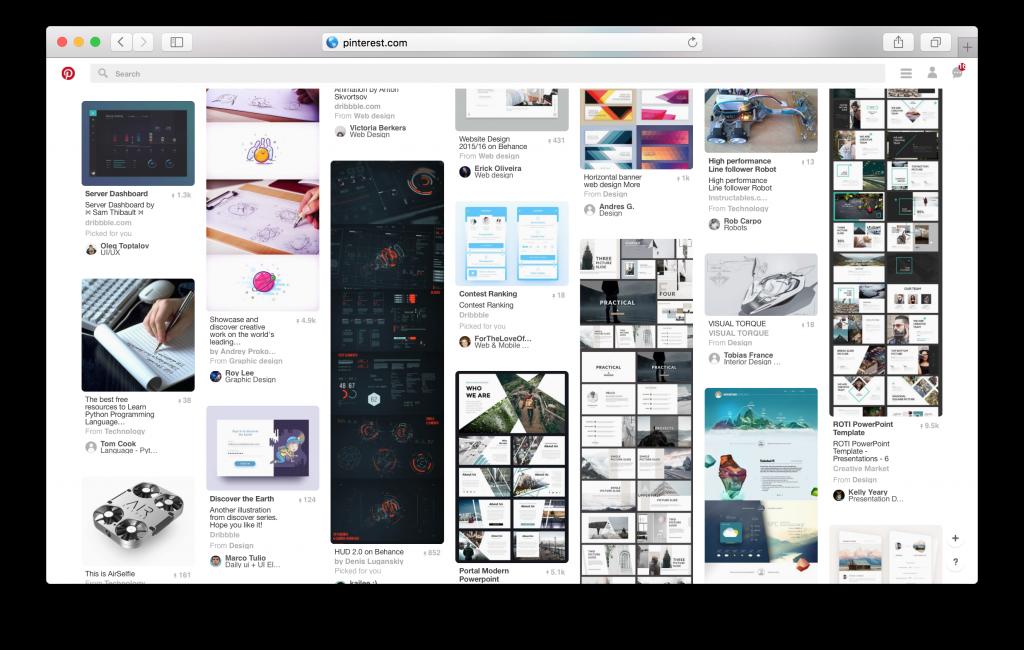 Sites longos de deslocamento, tais como Pinterest permitir que os usuários a serem tomadas em uma viagem.